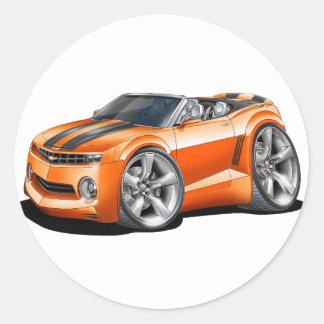 2012 Camaro Orange-Black Convertible Classic Round Sticker