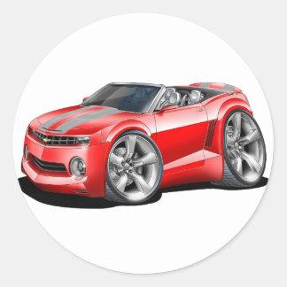 2012 Camaro Red-Grey Convertible Classic Round Sticker