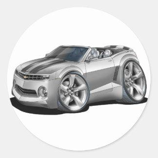 2012 Camaro Silver-Black Convertible Classic Round Sticker