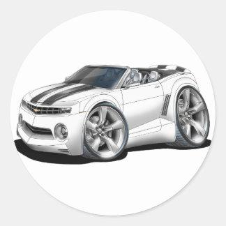 2012 Camaro White-Black Convertible Classic Round Sticker