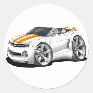 2012 Camaro White-Orange Convertible Classic Round Sticker
