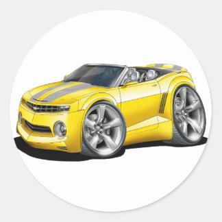 2012 Camaro Yellow-Grey Convertible Classic Round Sticker