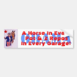 """2012 Campaign Slogan PSS """"A Horse In Every Pot & 2 Car Bumper Sticker"""
