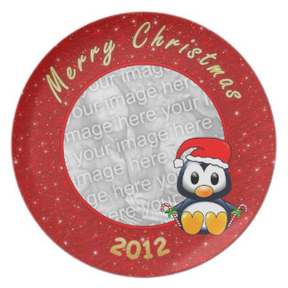 2012 Christmas Penguin Cartoon on Glitter Effect Party Plate