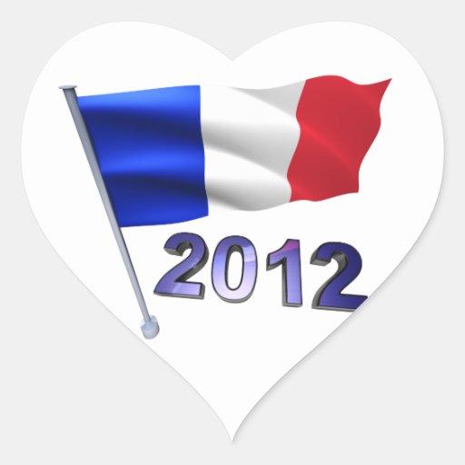2012 con la bandera francesa pegatina en forma de corazón