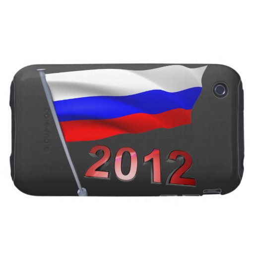 2012 con la bandera rusa iPhone 3 tough cárcasa