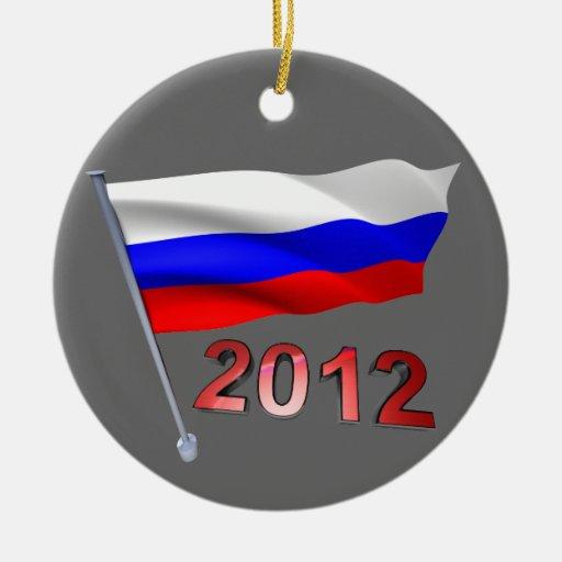 2012 con la bandera rusa ornamento de reyes magos
