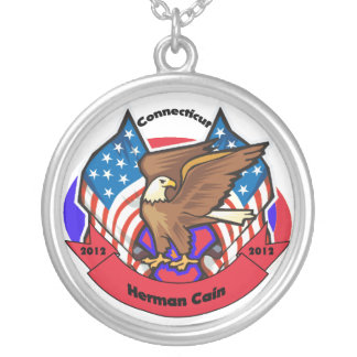 2012 Connecticut for Herman Cain Round Pendant Necklace