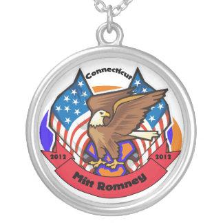 2012 Connecticut for Mitt Romney Round Pendant Necklace