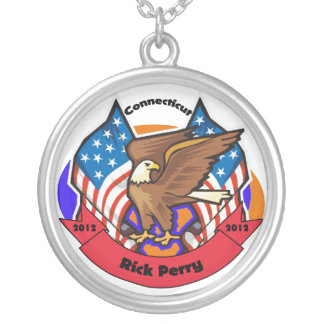 2012 Connecticut for Rick Perry Round Pendant Necklace