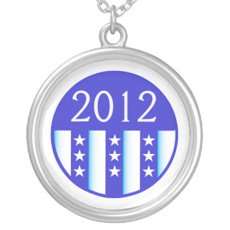 2012 election round seal blue version silver plated necklace