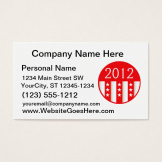 2012 election round seal red version business card