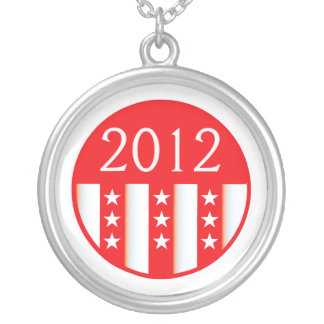 2012 election round seal red version silver plated necklace