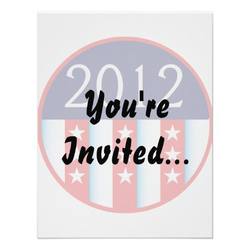 2012 election seal red and blue vote voting personalized invite