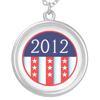 2012 election seal red and blue vote voting silver plated necklace