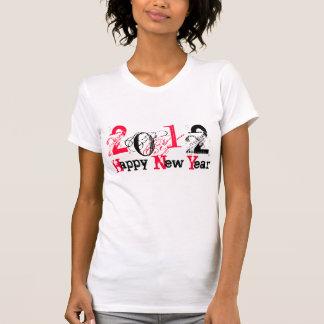 2012 Felices Año Nuevo de rojo/negro - modificado Camisetas