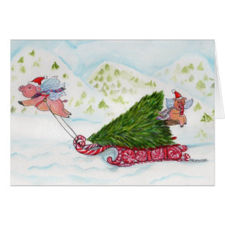 2012 Flying Pigs Bringing Home the Christmas Tree Greeting Card