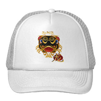 2012 gorras chinos de la cara del dragón del oro d