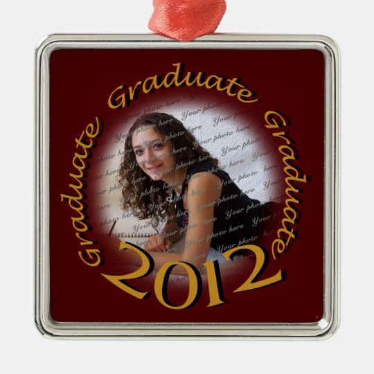 2012 Graduate Red and Gold Photo Metal Ornament