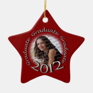 2012 Graduate Red and Silver Photo Ceramic Ornament
