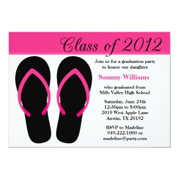 Beach Themed 2012 Graduation Party Pink and Black Flip Flops Card