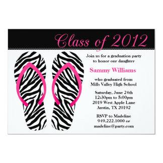 2012 Graduation Party Pink Black Zebra Flip Flops 5x7 Paper Invitation Card