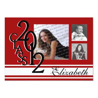 2012 Graduation Red Tri Photo Card