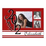 2012 Graduation Red Tri Photo Personalized Invitations