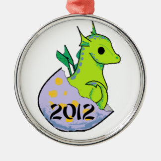 2012 Green Baby Dragon solo Round Metal Christmas Ornament
