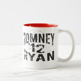 2012 Grunge ROMNEY RYAN Two-Tone Mug