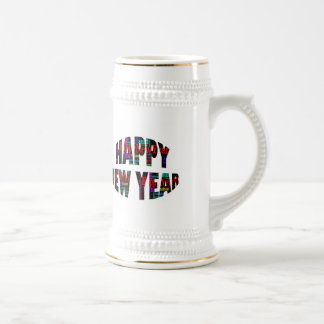 2012 Happy New Year Word Collage Beer Stein