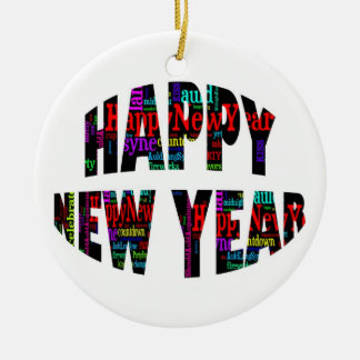 2012 Happy New Year Word Collage Ceramic Ornament