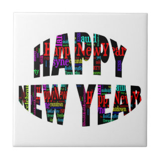 2012 Happy New Year Word Collage Ceramic Tiles