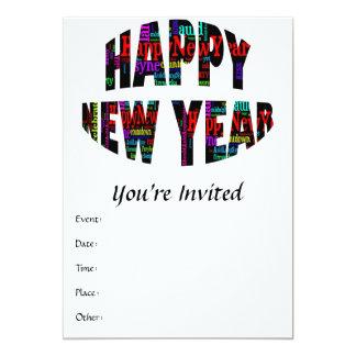 2012 Happy New Year Word Collage Custom Invites