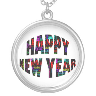 2012 Happy New Year Word Collage Custom Necklace