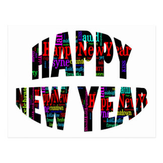 2012 Happy New Year Word Collage Postcard