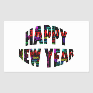 2012 Happy New Year Word Collage Rectangle Stickers