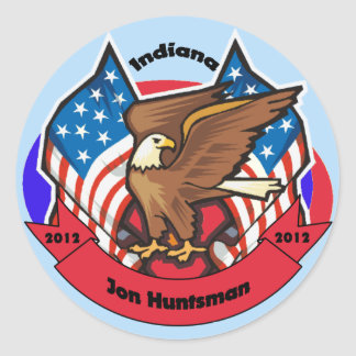 2012 Indiana for Jon Huntsman Classic Round Sticker