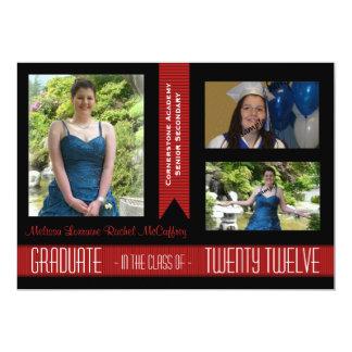 2012 invitación negra y roja de la clase del