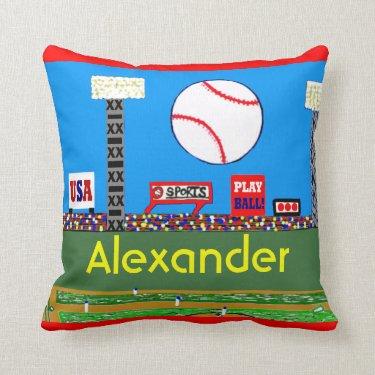 2012 Kids Baseball Personalized Throw Pillow Gift