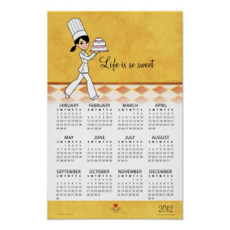 2012 Kitchen Calendar with Cake Chef Art Posters