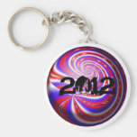 """""""2012"""" llaveros rojos, blancos, y azules"""