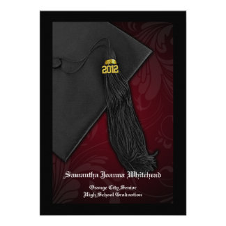 2012 Maroon Tassel Charm Graduation Announcement