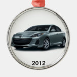 2012 Mazda3 4-door Christmas tree ornament. Round Metal Christmas Ornament