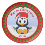 2012 Merry Christmas Plate with Cute Penguin