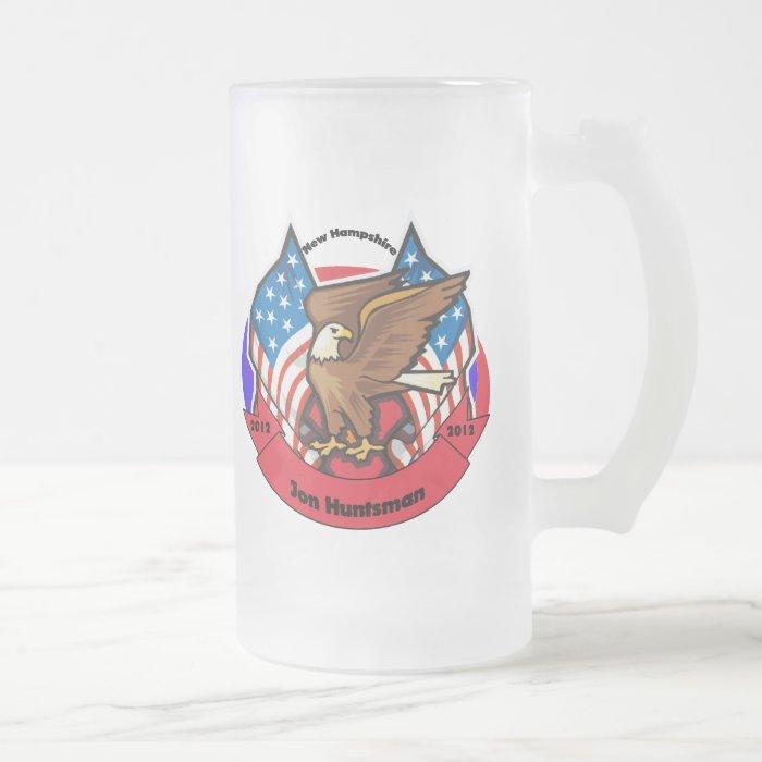 2012 New Hampshire for Jon Huntsman Frosted Glass Beer Mug