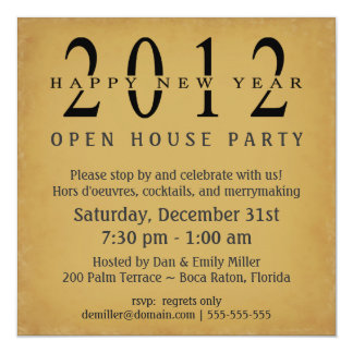 Open house new year invitations announcements zazzle 2012 new years eve open house vintage invitations stopboris Image collections