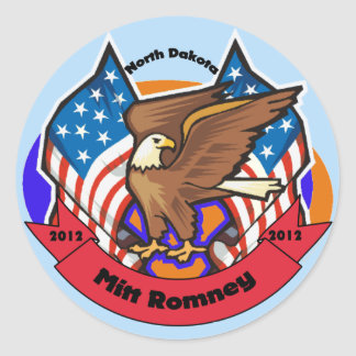 2012 North Dakota for Mitt Romney Round Stickers