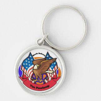 2012 North Dakota for Tim Pawlenty Silver-Colored Round Keychain