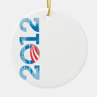 2012-OBAMA Vintage.png Double-Sided Ceramic Round Christmas Ornament
